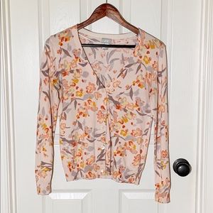 H&M Pink Floral Long Sleeve Cardigan Size Medium